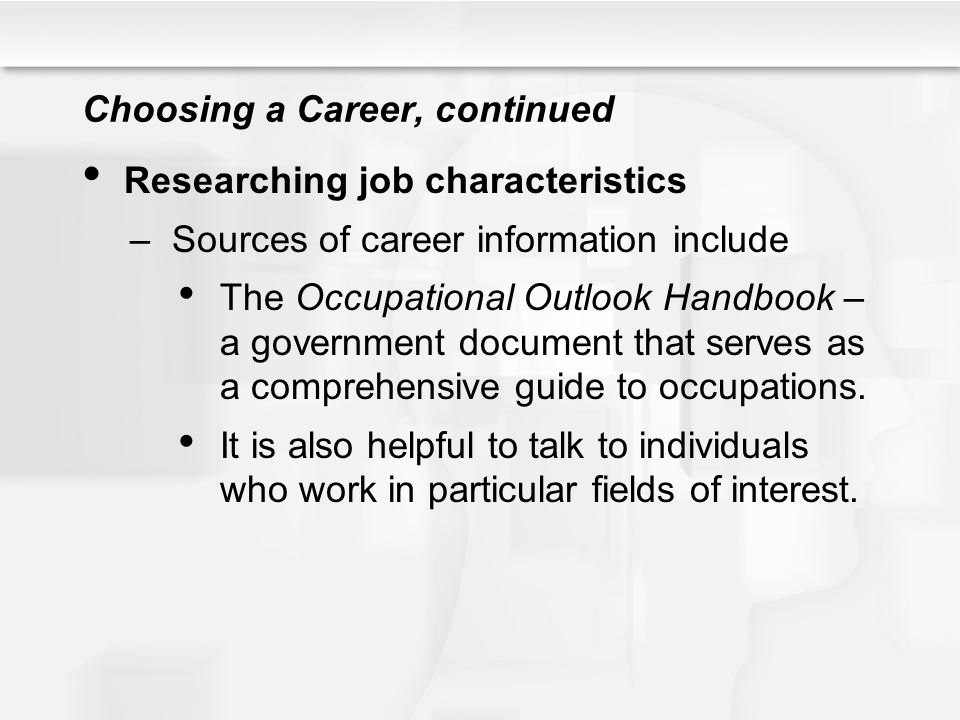Application: The Job Game, continued Putting together a resume, continued Effective resumes contain the following: –Heading – name and contact information.