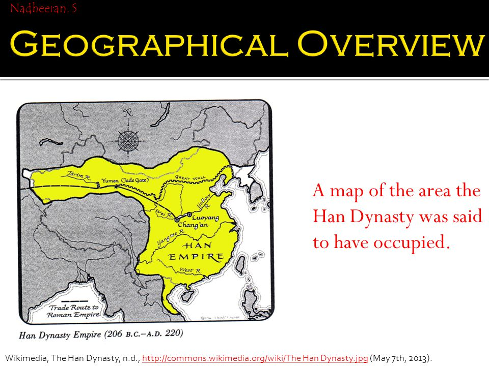 A map of the area the Han Dynasty was said to have occupied.