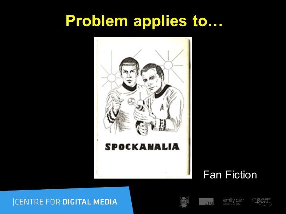 Problem applies to… Fan Fiction