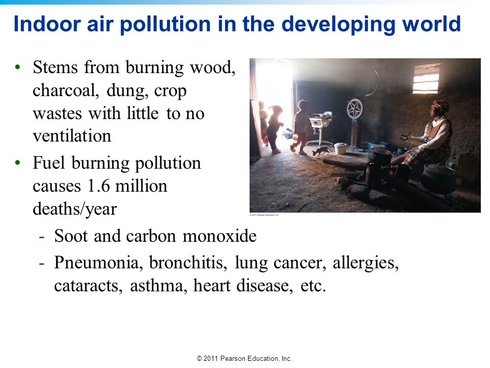 © 2011 Pearson Education, Inc. Indoor air pollution in the developing world Stems from burning wood, charcoal, dung, crop wastes with little to no ven