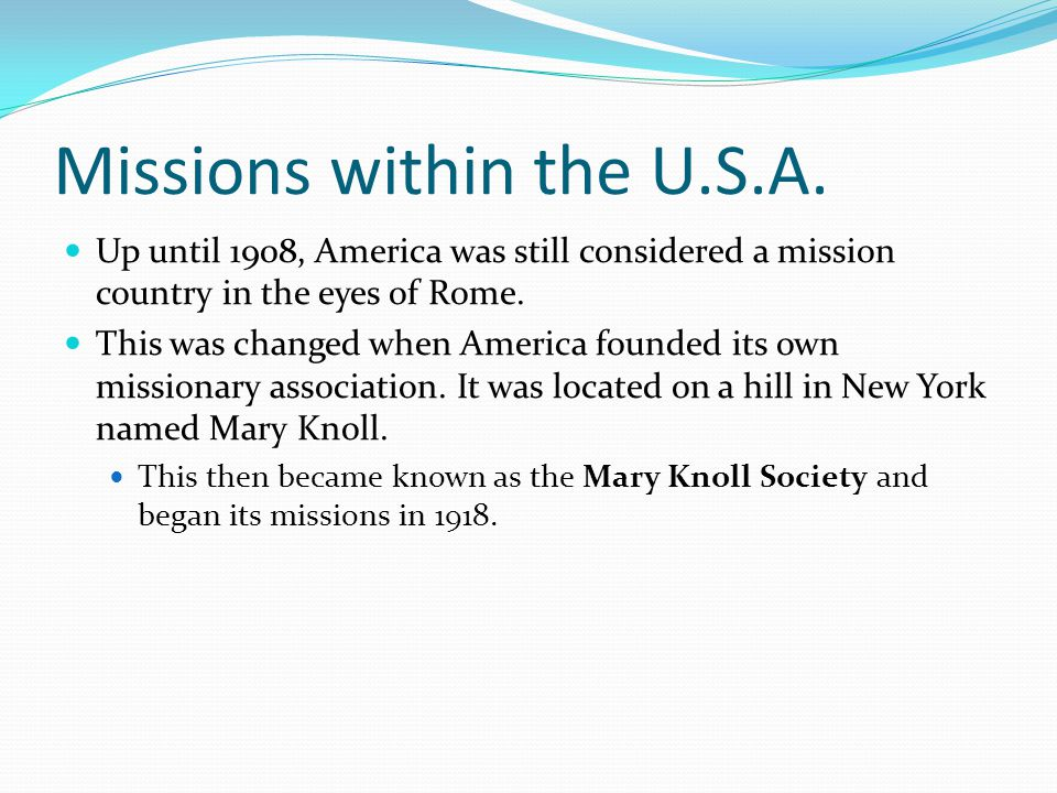 Missions within the U.S.A.