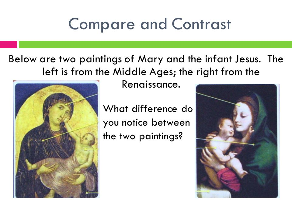 Compare and Contrast Below are two paintings of Mary and the infant Jesus.