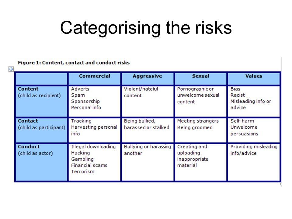 Categorising the risks
