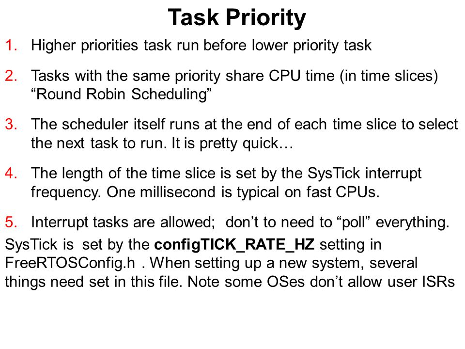 "Task Priority 1.Higher priorities task run before lower priority task 2.Tasks with the same priority share CPU time (in time slices) ""Round Robin Sche"