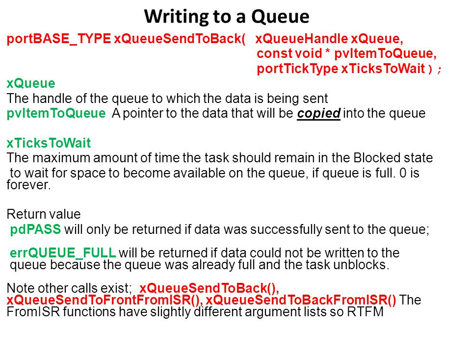 Writing to a Queue portBASE_TYPE xQueueSendToBack( xQueueHandle xQueue, const void * pvItemToQueue, portTickType xTicksToWait ); xQueue The handle of the queue to which the data is being sent pvItemToQueue A pointer to the data that will be copied into the queue xTicksToWait The maximum amount of time the task should remain in the Blocked state to wait for space to become available on the queue, if queue is full.