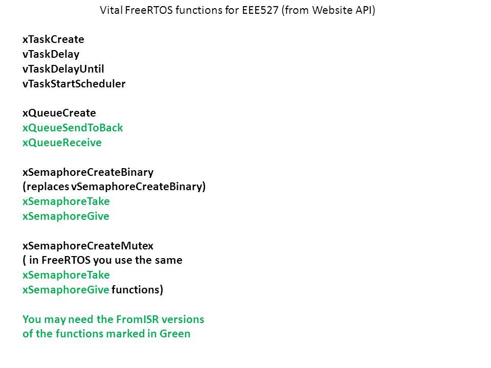 Vital FreeRTOS functions for EEE527 (from Website API) xTaskCreate vTaskDelay vTaskDelayUntil vTaskStartScheduler xQueueCreate xQueueSendToBack xQueueReceive xSemaphoreCreateBinary (replaces vSemaphoreCreateBinary) xSemaphoreTake xSemaphoreGive xSemaphoreCreateMutex ( in FreeRTOS you use the same xSemaphoreTake xSemaphoreGive functions) You may need the FromISR versions of the functions marked in Green