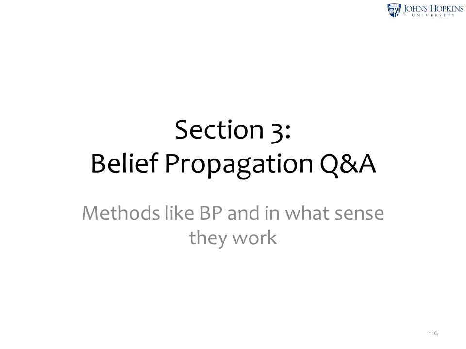 Section 3: Belief Propagation Q&A Methods like BP and in what sense they work 116