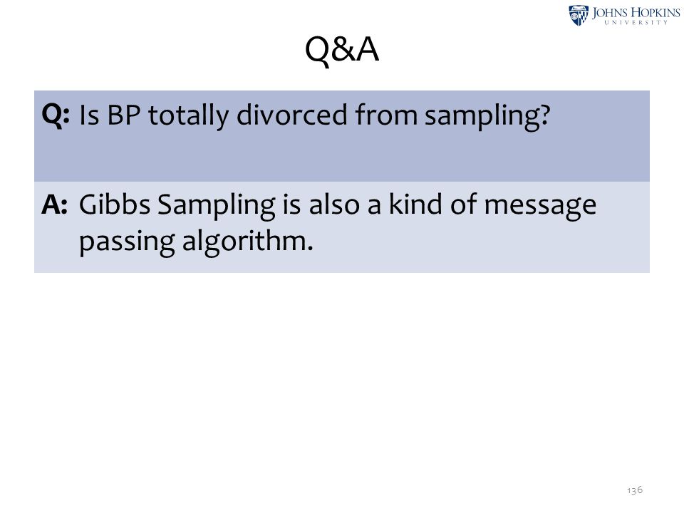 Q&A 136 Q: Is BP totally divorced from sampling? A:Gibbs Sampling is also a kind of message passing algorithm.