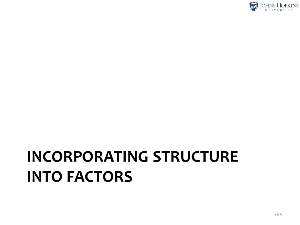 INCORPORATING STRUCTURE INTO FACTORS 168