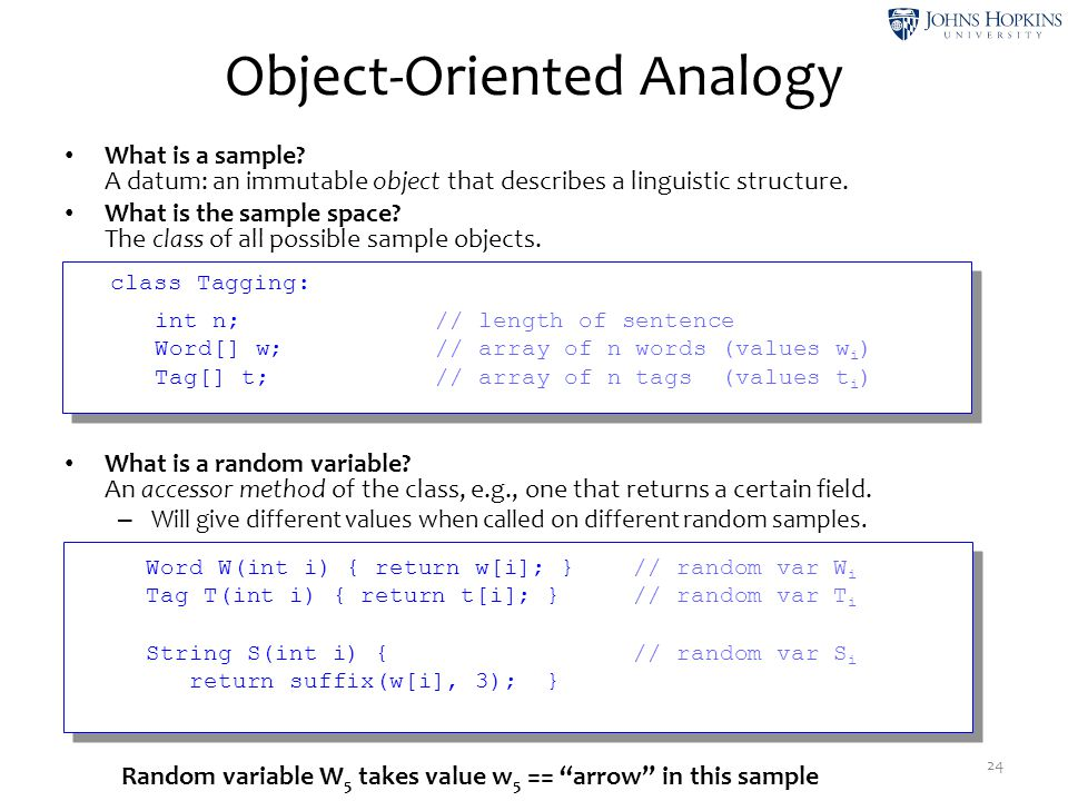 Object-Oriented Analogy What is a sample? A datum: an immutable object that describes a linguistic structure. What is the sample space? The class of a