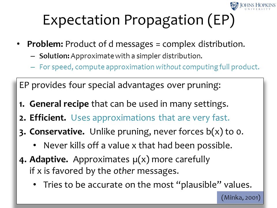 Problem: Product of d messages = complex distribution. – Solution: Approximate with a simpler distribution. – For speed, compute approximation without