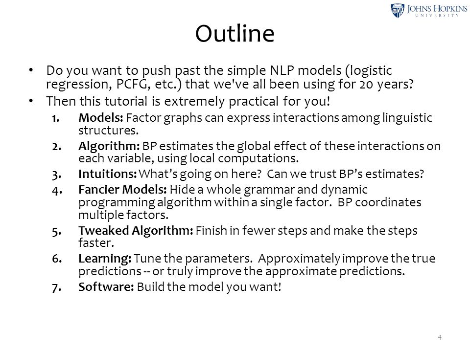 Outline Do you want to push past the simple NLP models (logistic regression, PCFG, etc.) that we ve all been using for 20 years.