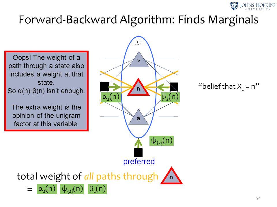 total weight of all paths through =   X2X2 X3X3 X1X1 Forward-Backward Algorithm: Finds Marginals 91 v n a v n a v n a STARTEND findpreferredtags n ψ