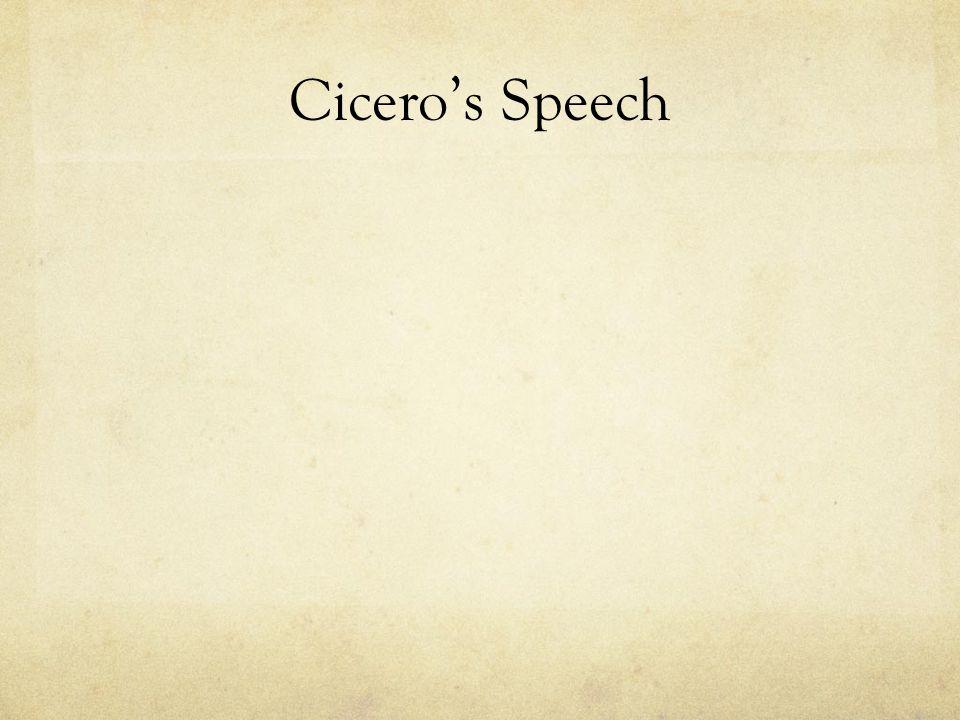 Cicero's Speech