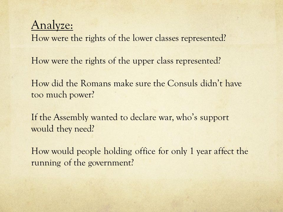 Analyze: How were the rights of the lower classes represented? How were the rights of the upper class represented? How did the Romans make sure the Co
