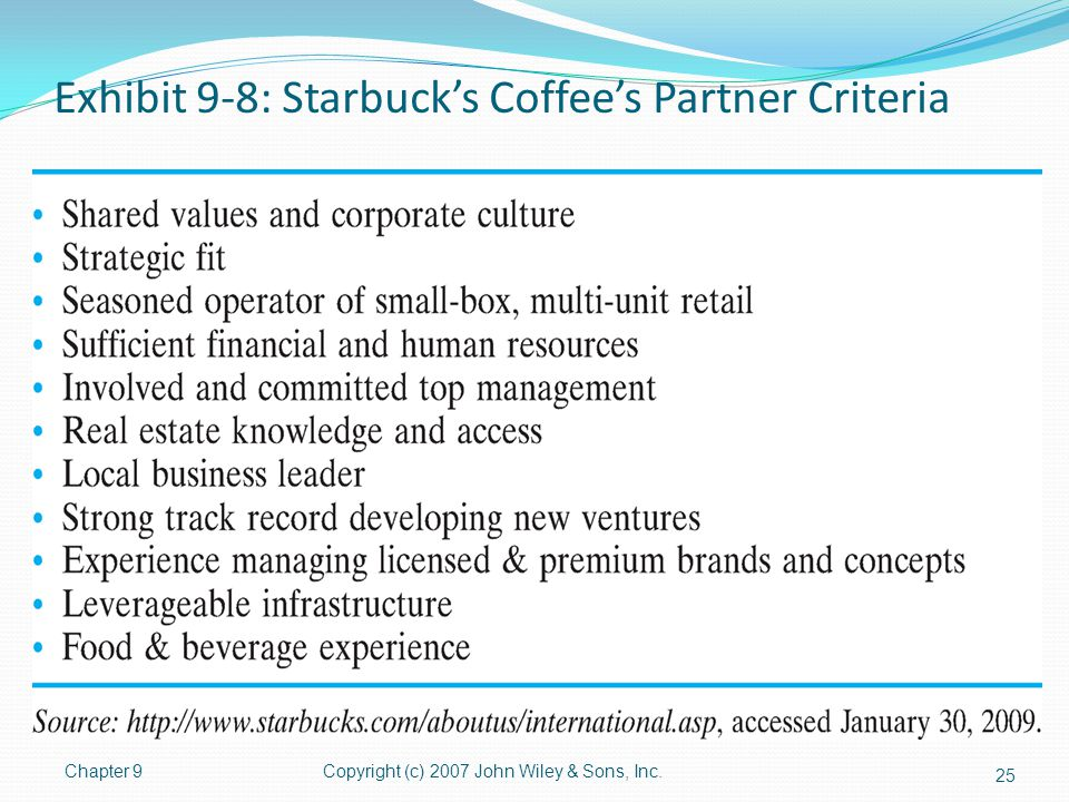 Exhibit 9-8: Starbuck's Coffee's Partner Criteria Chapter 9Copyright (c) 2007 John Wiley & Sons, Inc. 25