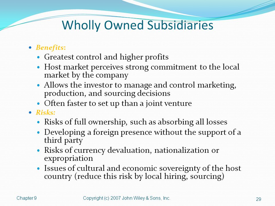 Wholly Owned Subsidiaries Benefits: Greatest control and higher profits Host market perceives strong commitment to the local market by the company All