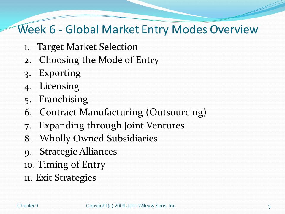 Exit Strategies – Reasons for Exit Sustained losses or difficulty in gaining market share Volatile host country political or economic environment Premature entry Poor host country infrastructure Lack of strong local partners Ethical reasons Intense competition Attractive markets bring competitors Overcapacity and price wars Resource reallocation Moving resources to areas with highest potential return Company decides to pull back from international operations 34