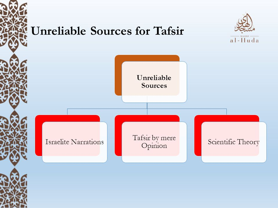 Unreliable Sources for Tafsir Unreliable Sources Israelite Narrations Tafsir by mere Opinion Scientific Theory