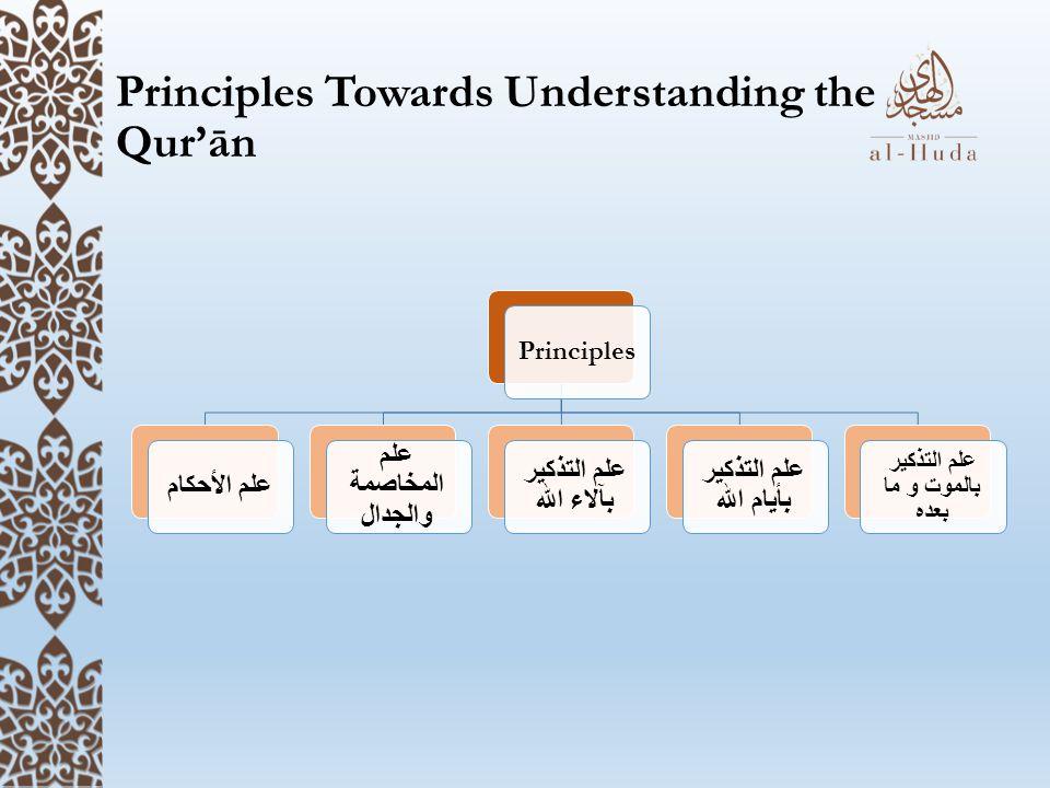 Principles Towards Understanding the Qur'ān Principles علم الأحكام علم المخاصمة والجدال علم التذكير بآلاء الله علم التذكير بأيام الله علم التذكير بالموت و ما بعده
