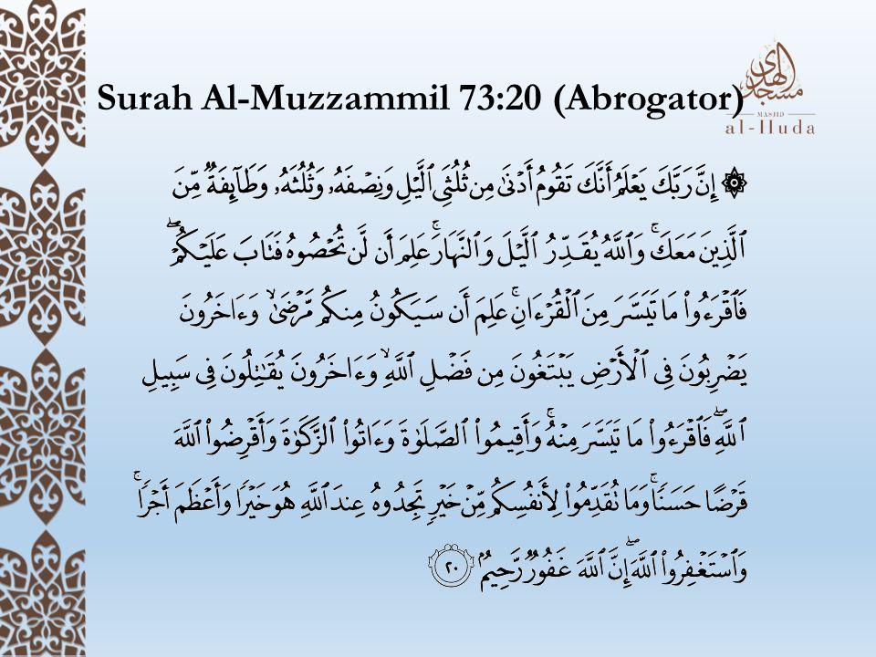 Surah Al-Muzzammil 73:20 (Abrogator)