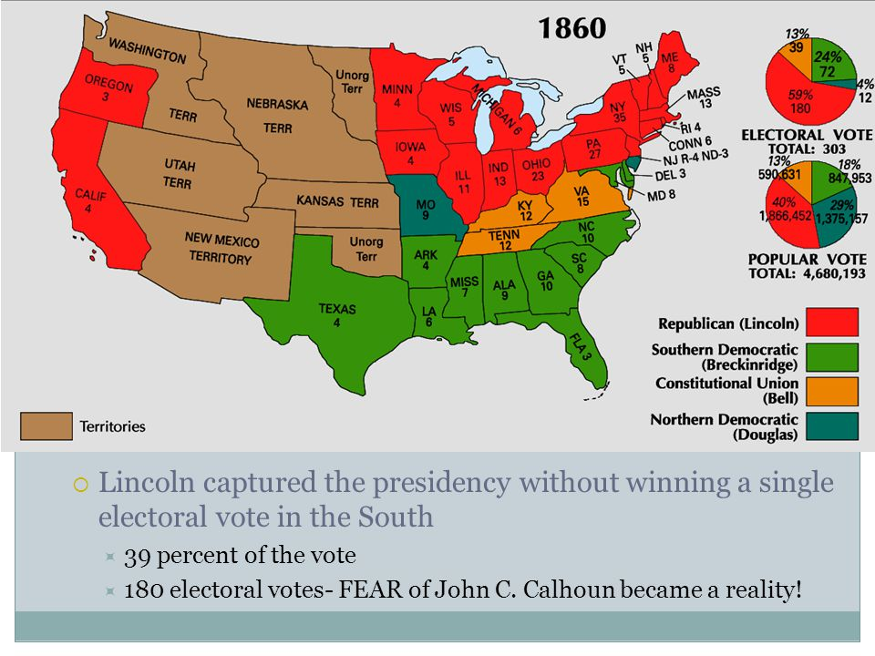  Lincoln captured the presidency without winning a single electoral vote in the South  39 percent of the vote  180 electoral votes- FEAR of John C.