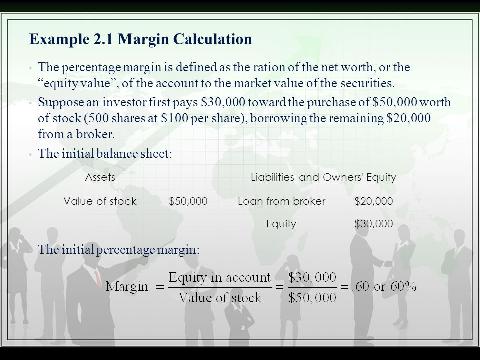 """Example 2.1 Margin Calculation The percentage margin is defined as the ration of the net worth, or the """"equity value"""", of the account to the market va"""