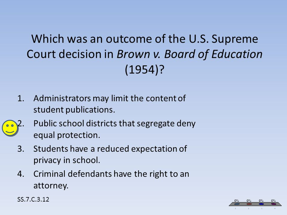 Which was an outcome of the U.S. Supreme Court decision in Brown v. Board of Education (1954)? SS.7.C.3.12 1.Administrators may limit the content of s