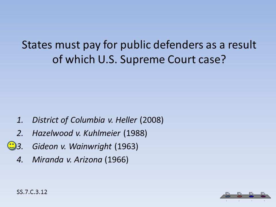 States must pay for public defenders as a result of which U.S. Supreme Court case? SS.7.C.3.12 1.District of Columbia v. Heller (2008) 2.Hazelwood v.