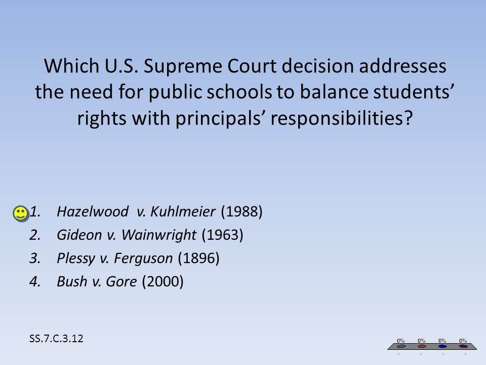 Which U.S. Supreme Court decision addresses the need for public schools to balance students' rights with principals' responsibilities? SS.7.C.3.12 1.H