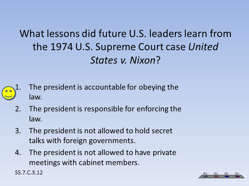 What lessons did future U.S. leaders learn from the 1974 U.S. Supreme Court case United States v. Nixon? SS.7.C.3.12 1.The president is accountable fo