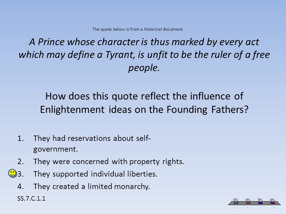 The quote below is from a historical document. A Prince whose character is thus marked by every act which may define a Tyrant, is unfit to be the rule