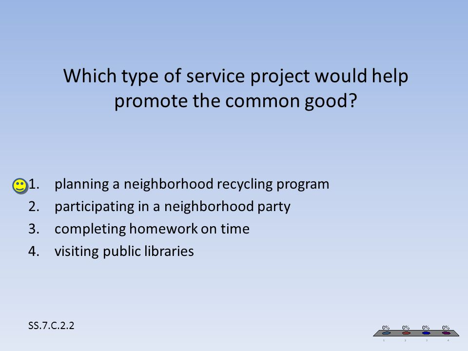 Which type of service project would help promote the common good? SS.7.C.2.2 1.planning a neighborhood recycling program 2.participating in a neighbor