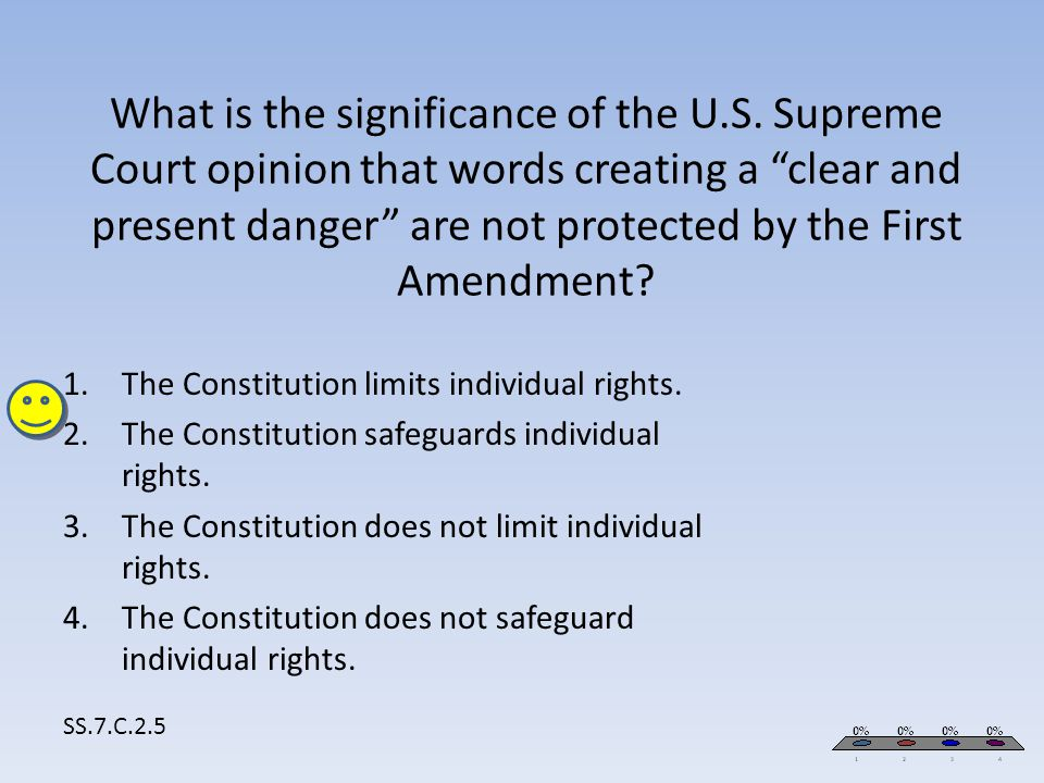 """What is the significance of the U.S. Supreme Court opinion that words creating a """"clear and present danger"""" are not protected by the First Amendment?"""