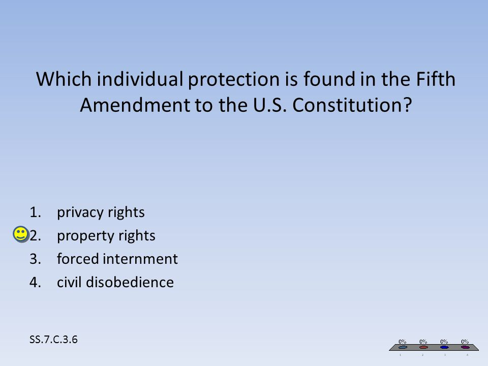 Which individual protection is found in the Fifth Amendment to the U.S. Constitution? SS.7.C.3.6 1.privacy rights 2.property rights 3.forced internmen