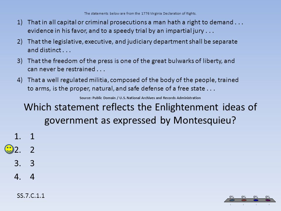 The statements below are from the 1776 Virginia Declaration of Rights. Source: Public Domain / U.S. National Archives and Records Administration Which