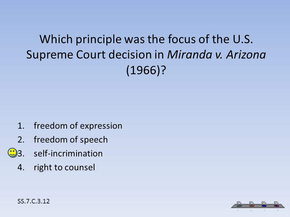Which principle was the focus of the U.S. Supreme Court decision in Miranda v. Arizona (1966)? SS.7.C.3.12 1.freedom of expression 2.freedom of speech