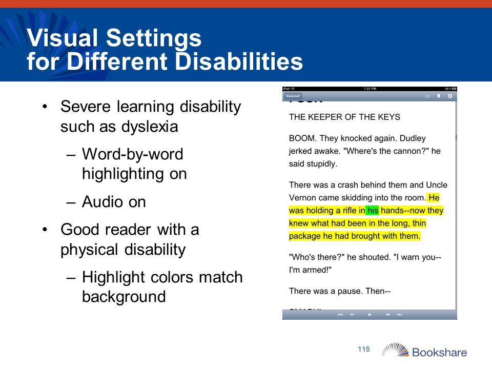 Visual Settings for Different Disabilities Severe learning disability such as dyslexia –Word-by-word highlighting on –Audio on Good reader with a phys