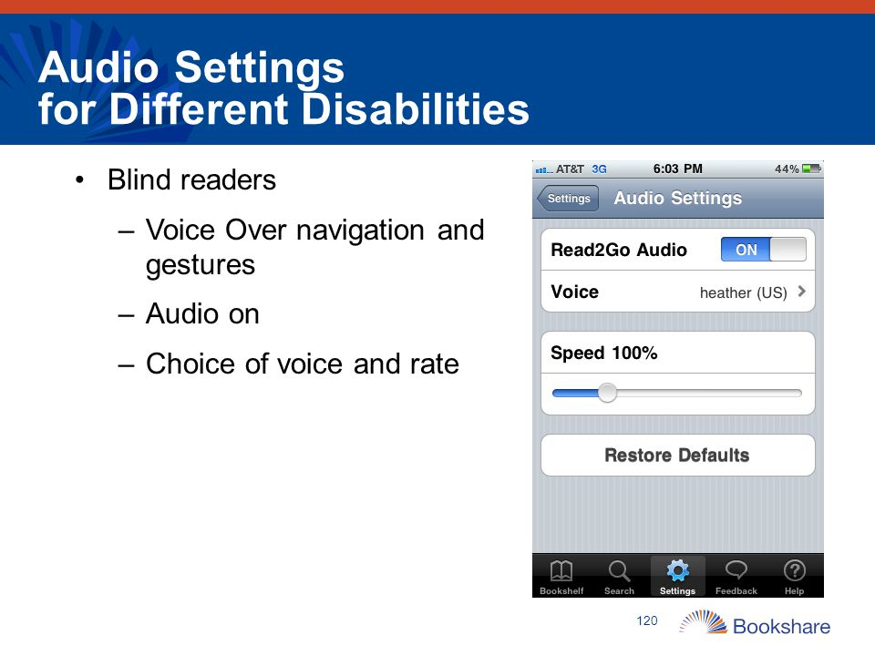 Audio Settings for Different Disabilities Blind readers –Voice Over navigation and gestures –Audio on –Choice of voice and rate 120