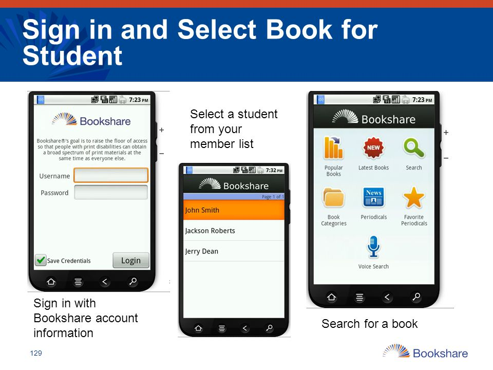 Sign in and Select Book for Student 129 Sign in with Bookshare account information Select a student from your member list Search for a book