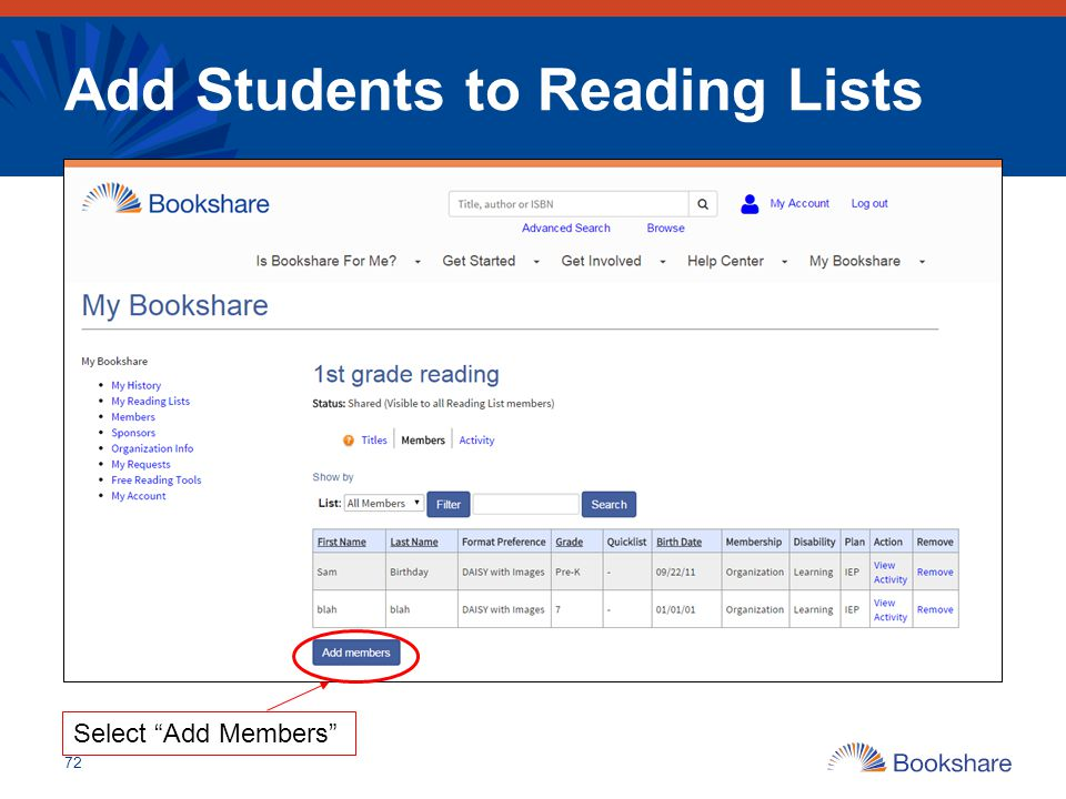 "Add Students to Reading Lists 72 Select ""Add Members"""