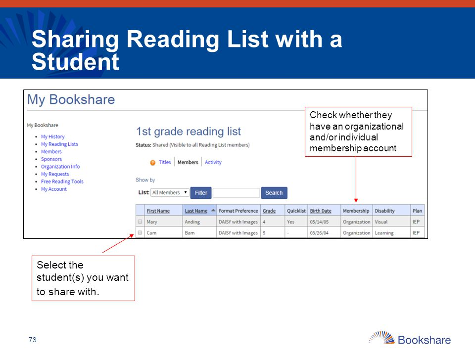 Sharing Reading List with a Student 73 Select the student(s) you want to share with. Check whether they have an organizational and/or individual membe