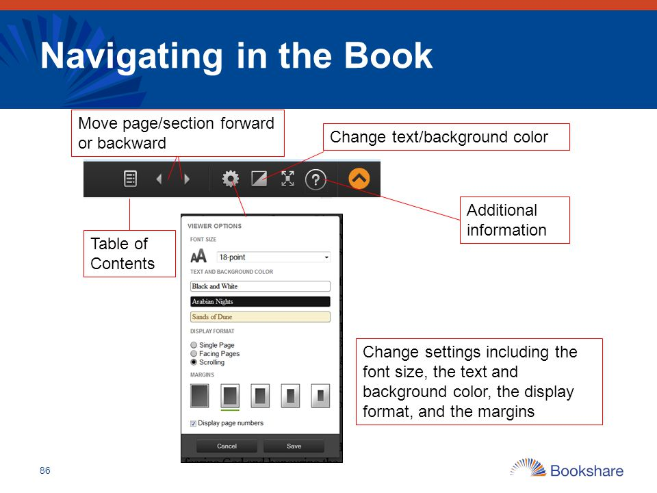 Navigating in the Book 86 Change settings including the font size, the text and background color, the display format, and the margins Table of Content