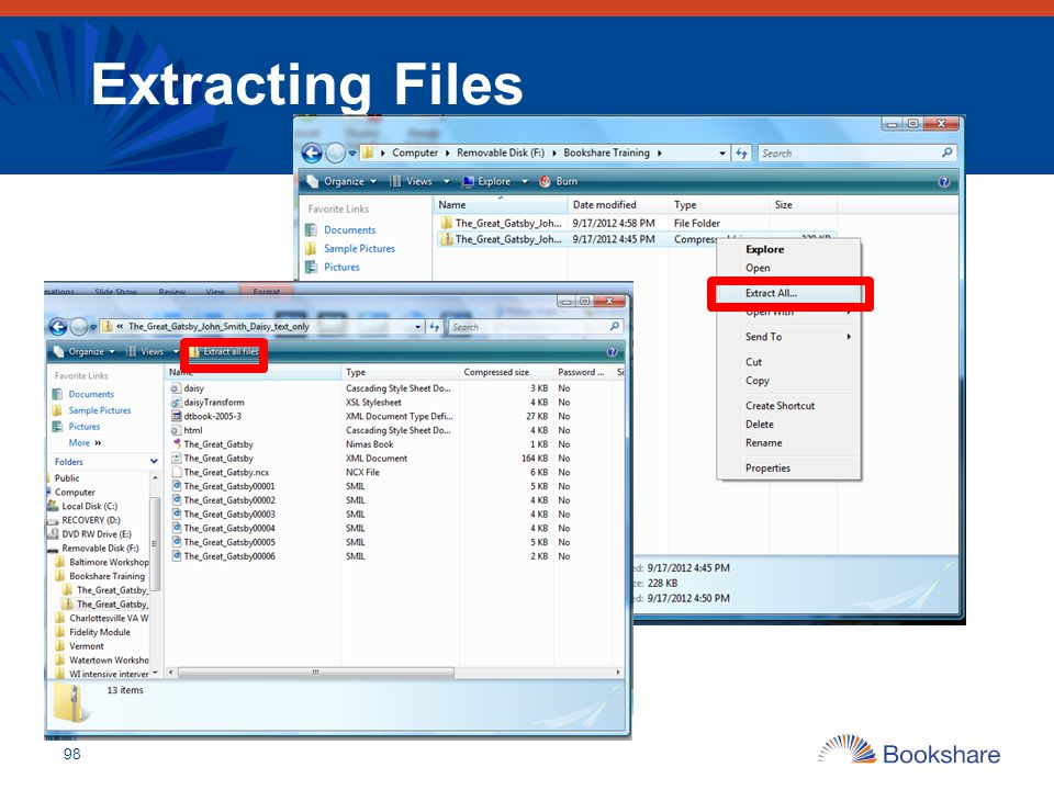 Extracting Files 98