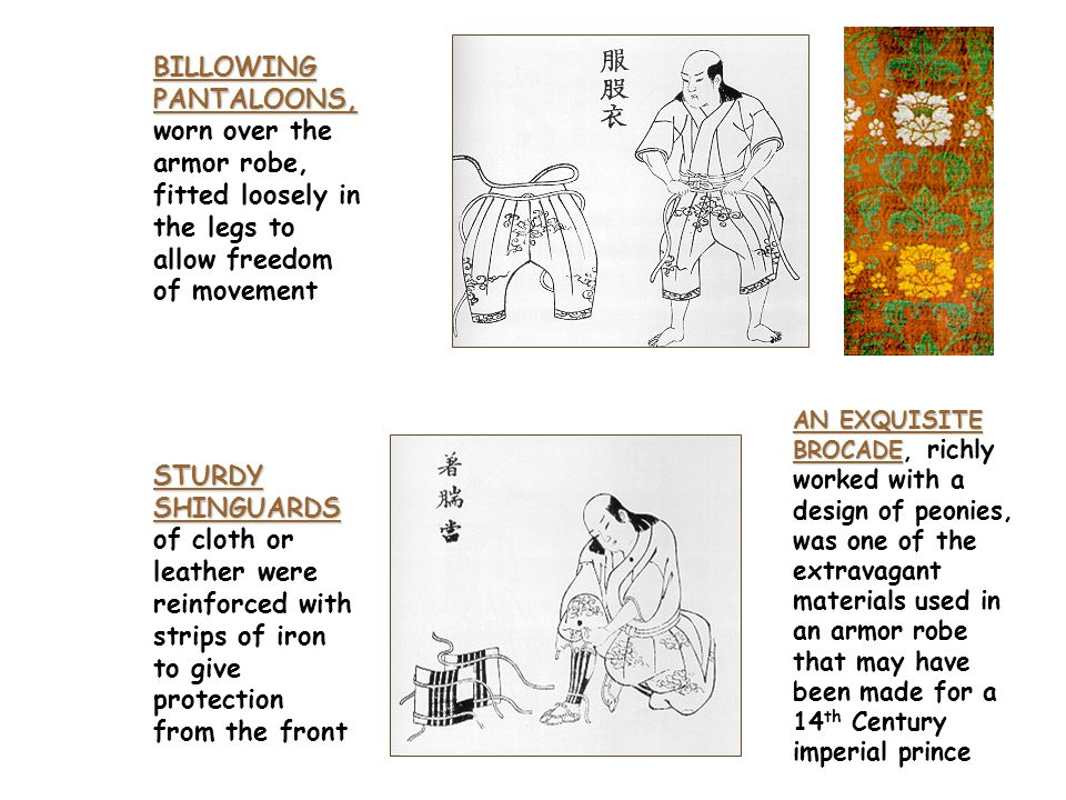 Underpinnings: Basic Steps in Self Defense A COTTON BREECH CLOUT A COTTON BREECH CLOUT that extended up over the chest was the basic undergarment of a samurai's costume A SHORT SLEEVED KIMONO A SHORT SLEEVED KIMONO, or armor robe, was tied snugly at the waist with a special knot (lower right)