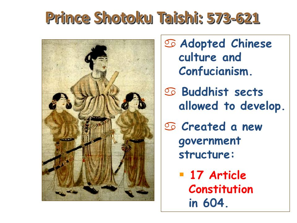 Yamato Period: 300-710 Began promoting the adoption of Chinese culture: a Confucianism. a Language (kanji characters). a Buddhist sects. a Chinese art