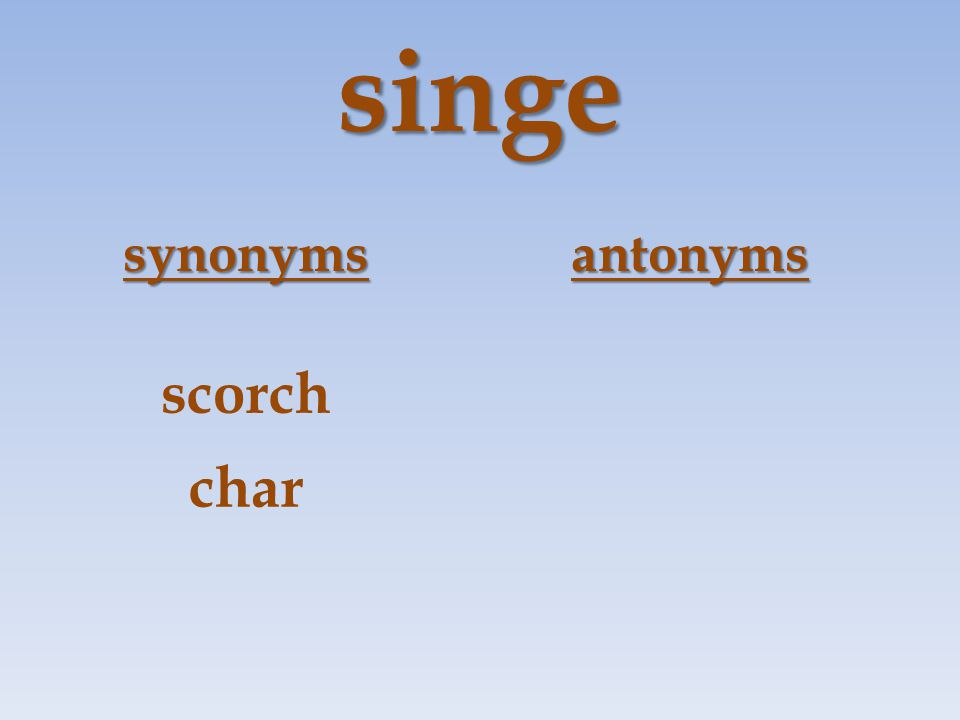 singe synonymsantonyms scorch char