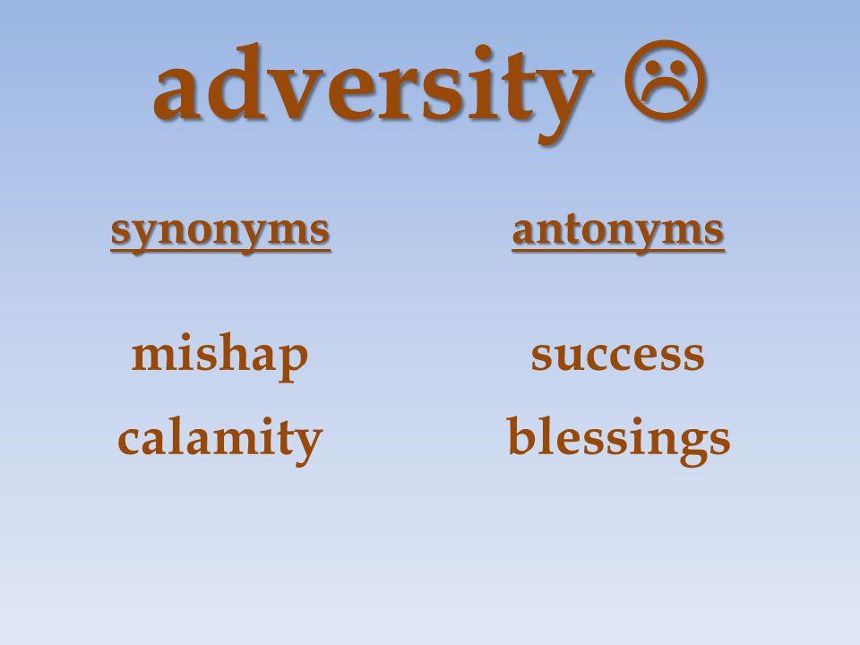 adversity  synonymsantonyms mishapsuccess calamityblessings