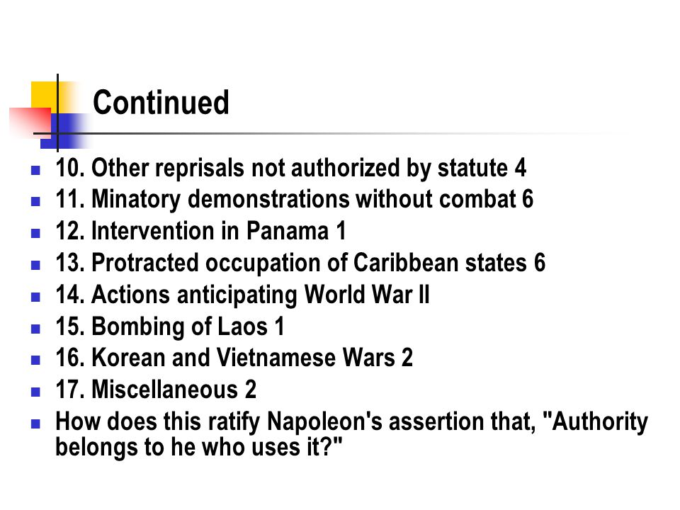 Continued 10. Other reprisals not authorized by statute 4 11.