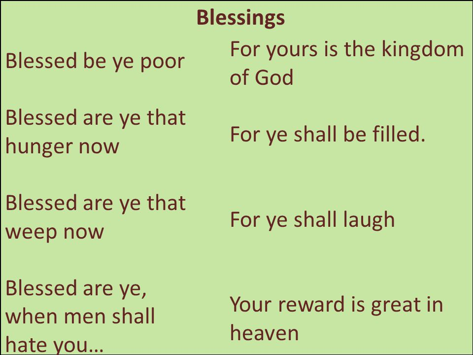 Blessings Blessed be ye poor Blessed are ye that hunger now Blessed are ye that weep now Blessed are ye, when men shall hate you… For yours is the kin